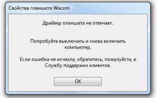 Планшет Wacom, драйвер не отвечает или не работает, решение проблемы